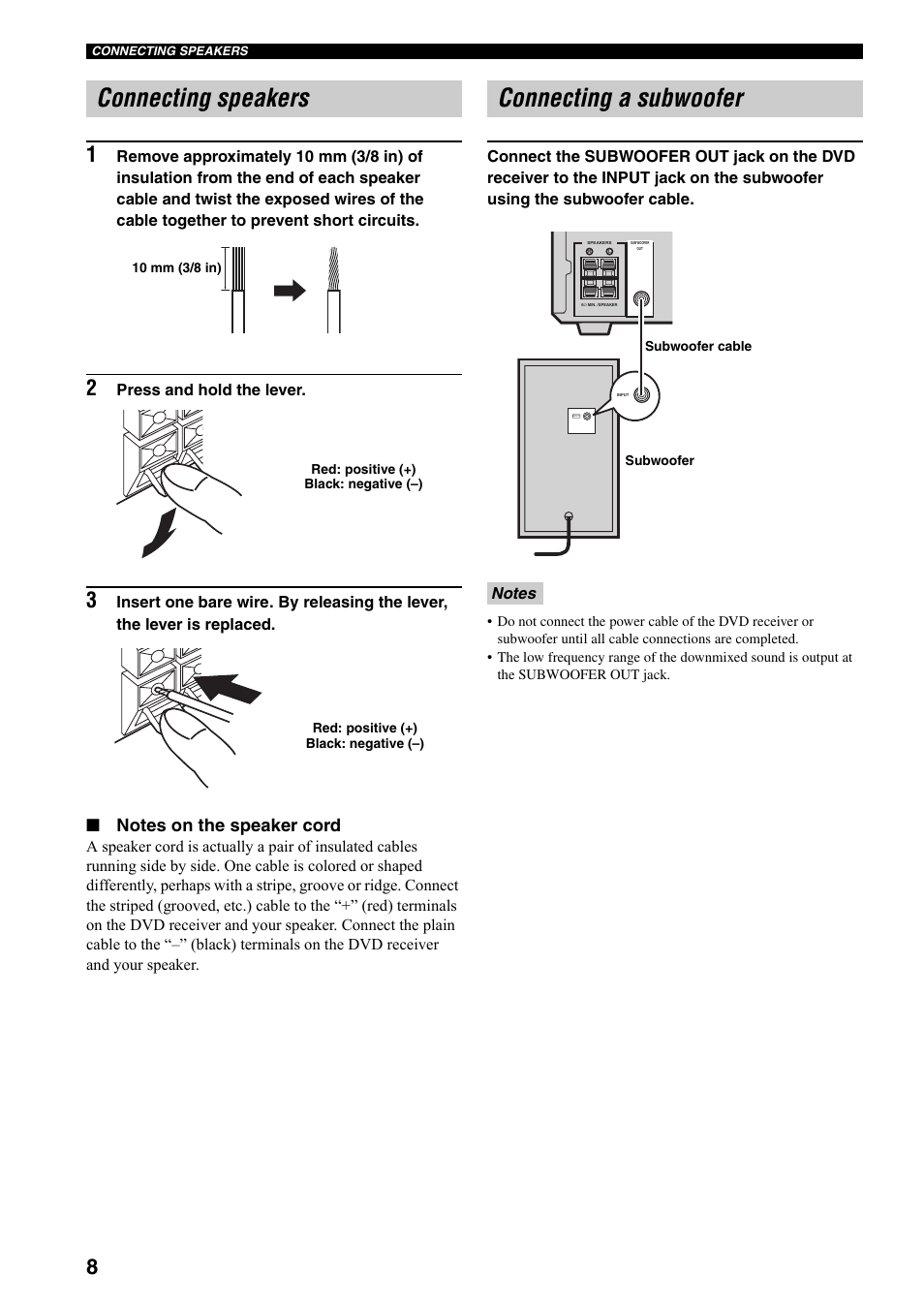 hight resolution of connecting speakers connecting a subwoofer yamaha rdx e700 user manual page 10 57