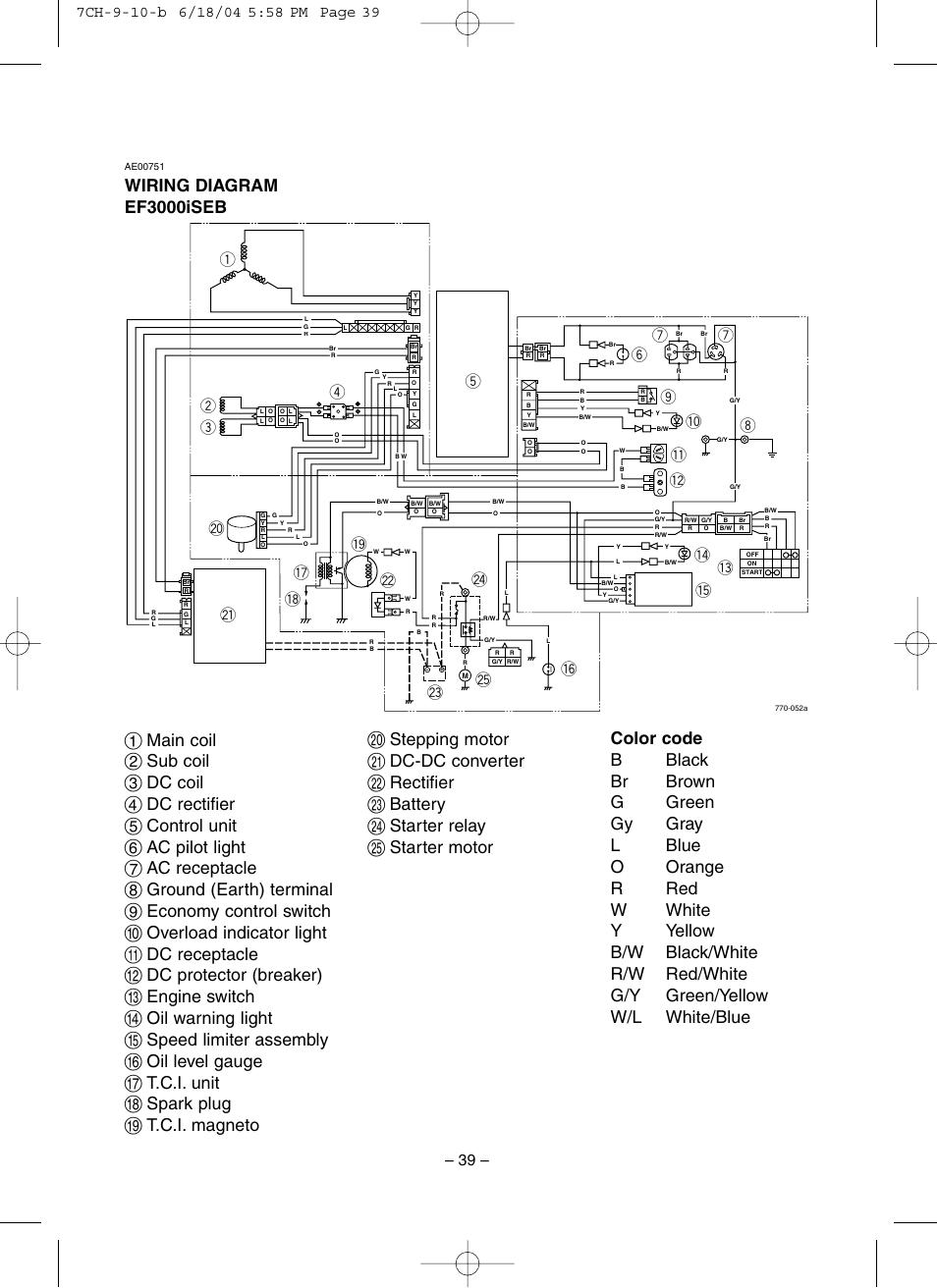 Yamaha Generator Wiring Diagram : Yamaha Ef4000dve