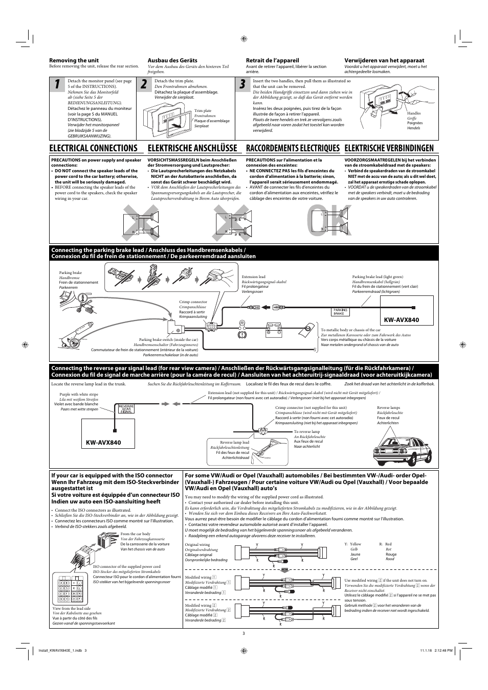 Removing the unit, Electrical connections, Connecting the