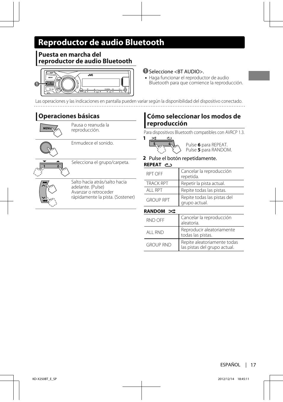 Reproductor de audio bluetooth, Operaciones básicas, Cómo