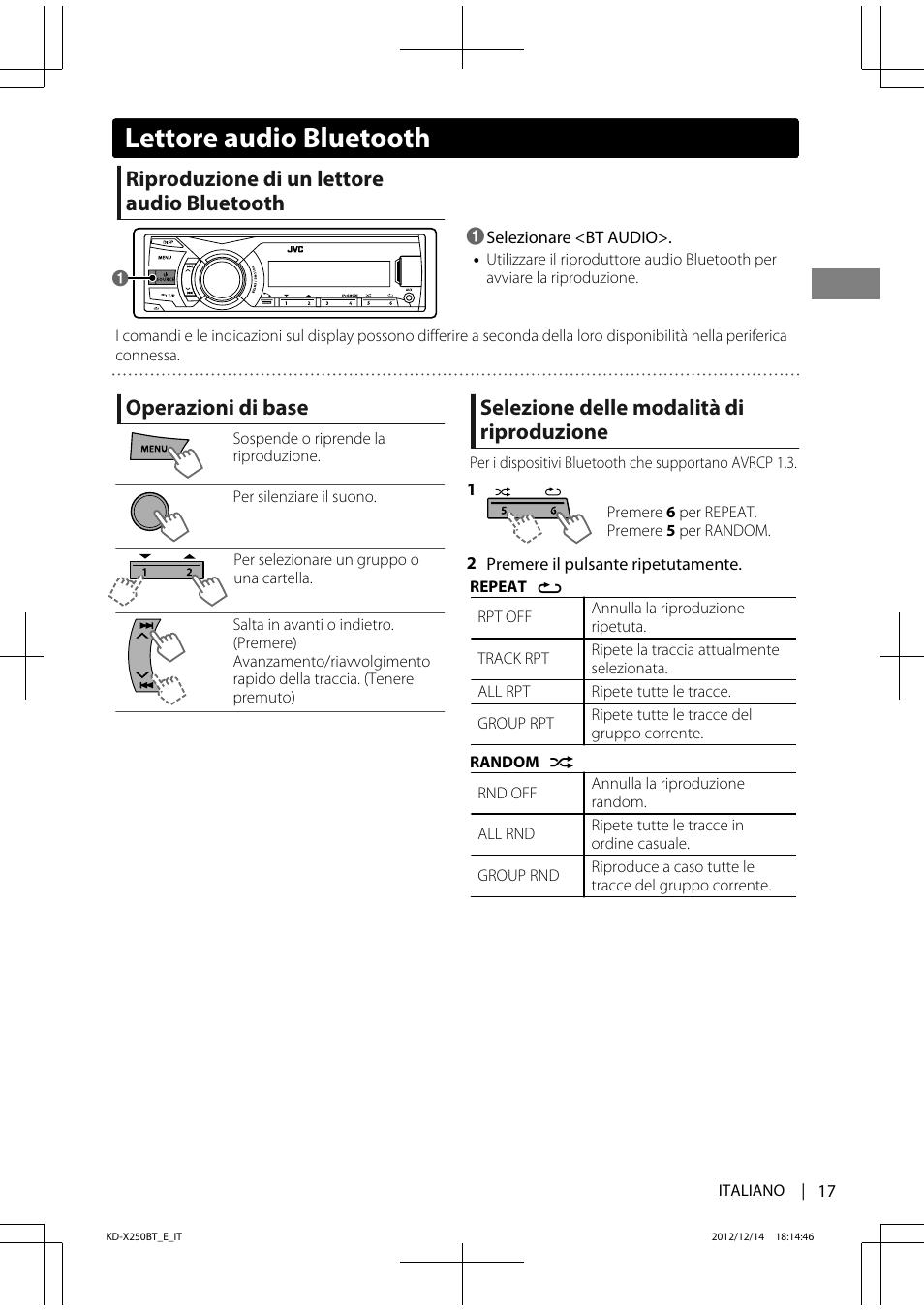 Lettore audio bluetooth, Riproduzione di un lettore audio
