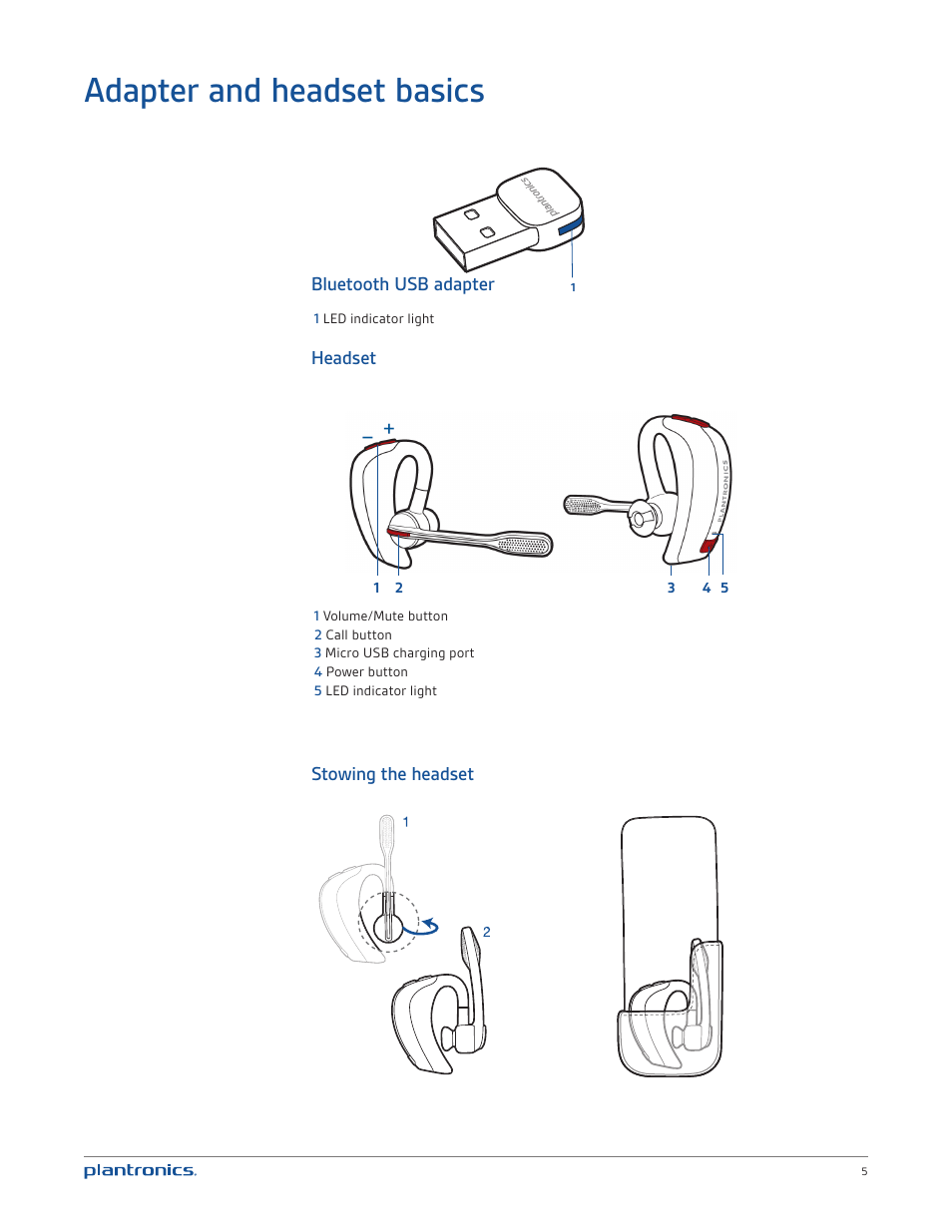 Adapter and headset basics, Bluetooth usb adapter, Headset