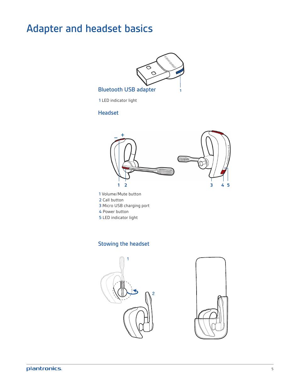 Adapter and headset basics, Bluetooth usb adapter, Headset