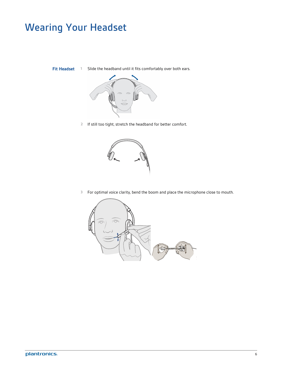 hight resolution of wearing your headset fit headset plantronics blackwire c520 user manual page 6