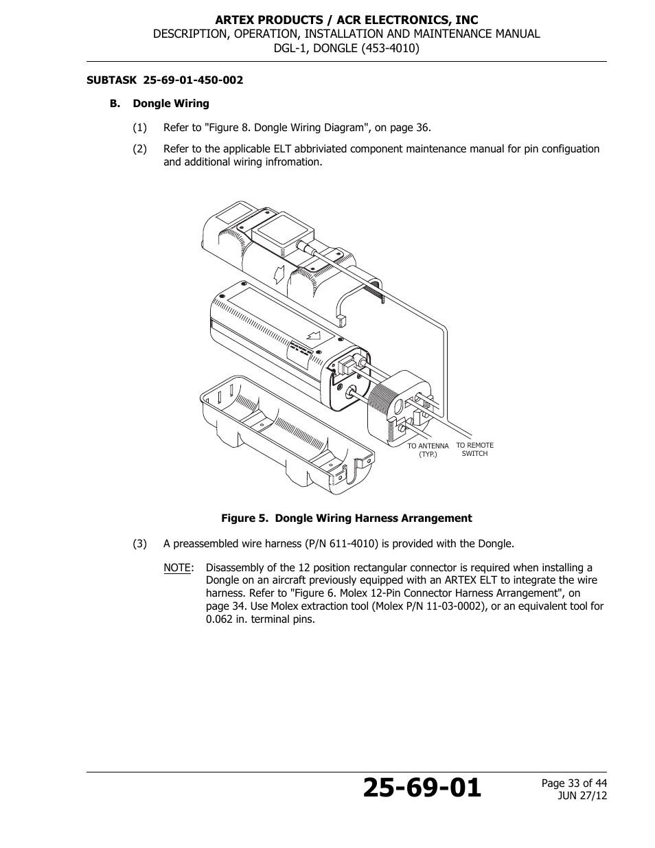 hight resolution of b dongle wiring figure 5 dongle wiring harness arrangement acr artex dgl 1 user manual page 33 44