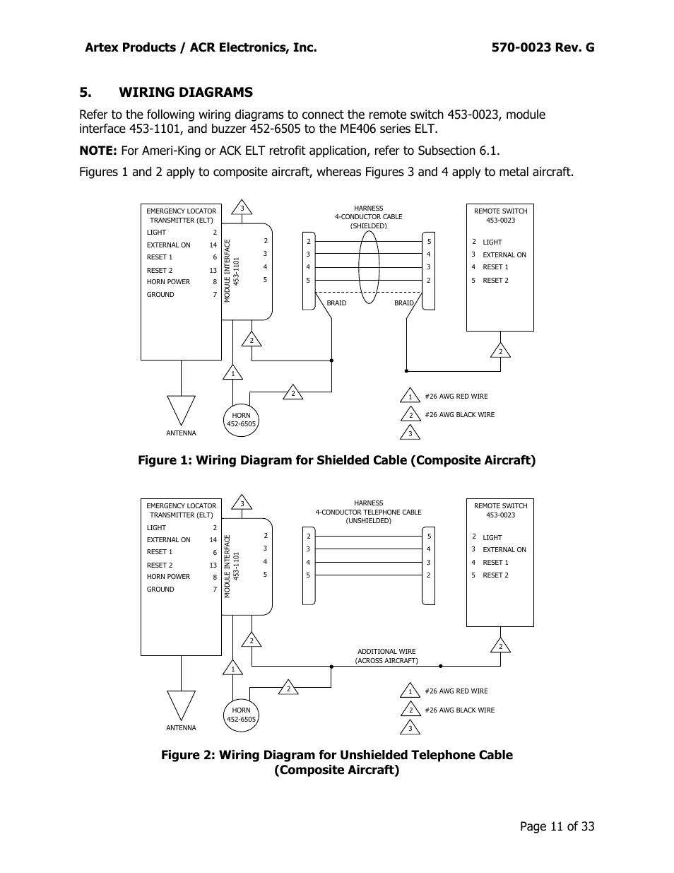 medium resolution of wiring diagrams artex products acr electronics inc 0023 rev g acr artex me406 ace 455 0023 user manual page 11 33
