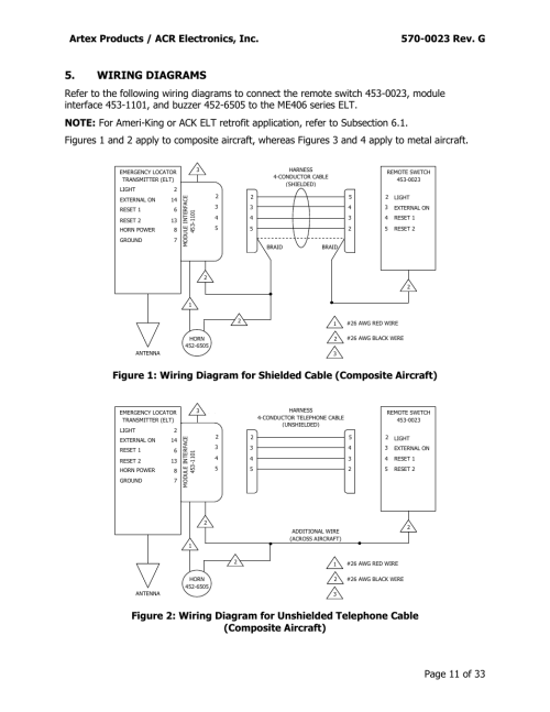 small resolution of wiring diagrams artex products acr electronics inc 0023 rev g acr artex me406 ace 455 0023 user manual page 11 33