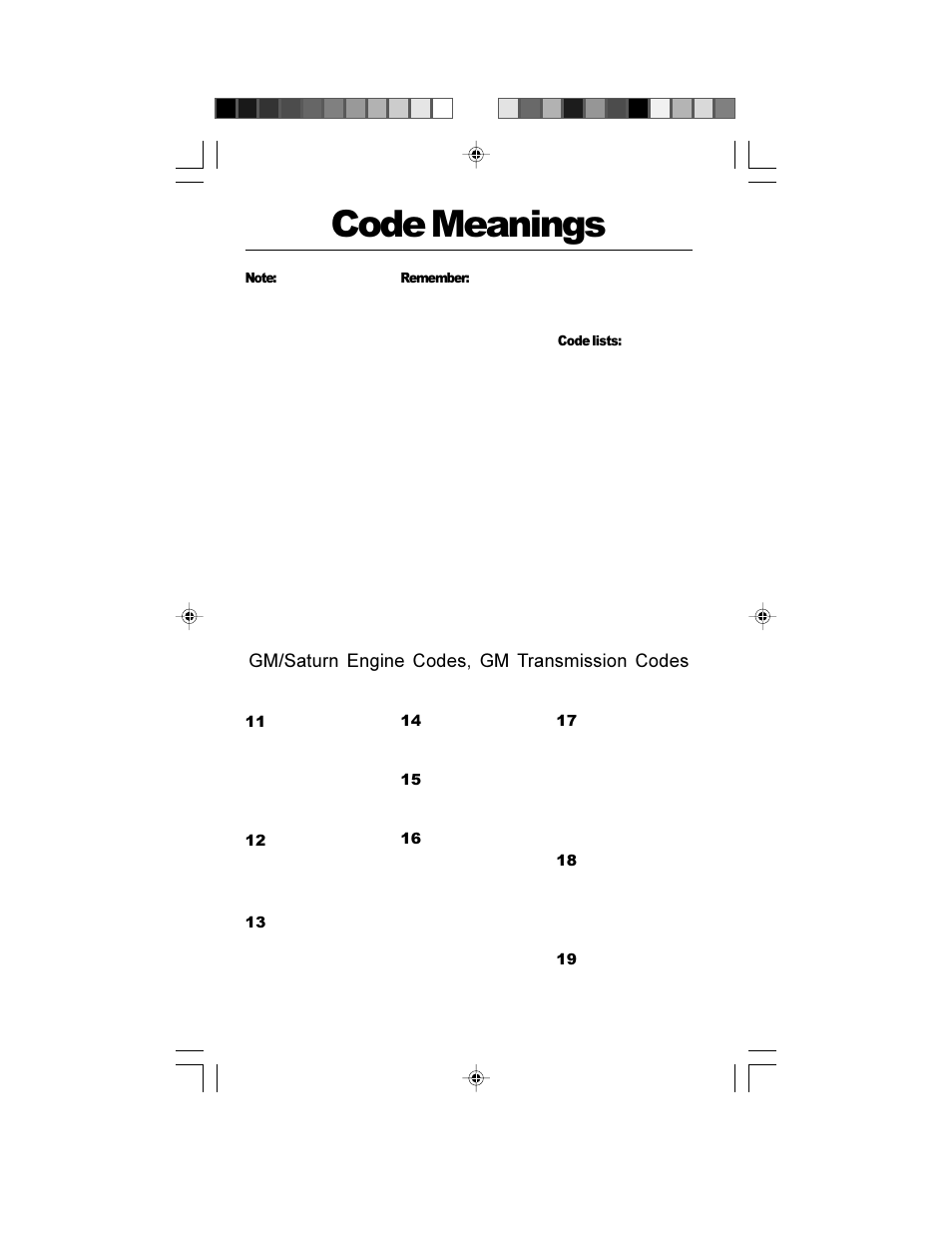 Code meanings, Gm/saturn engine codes, gm transmission