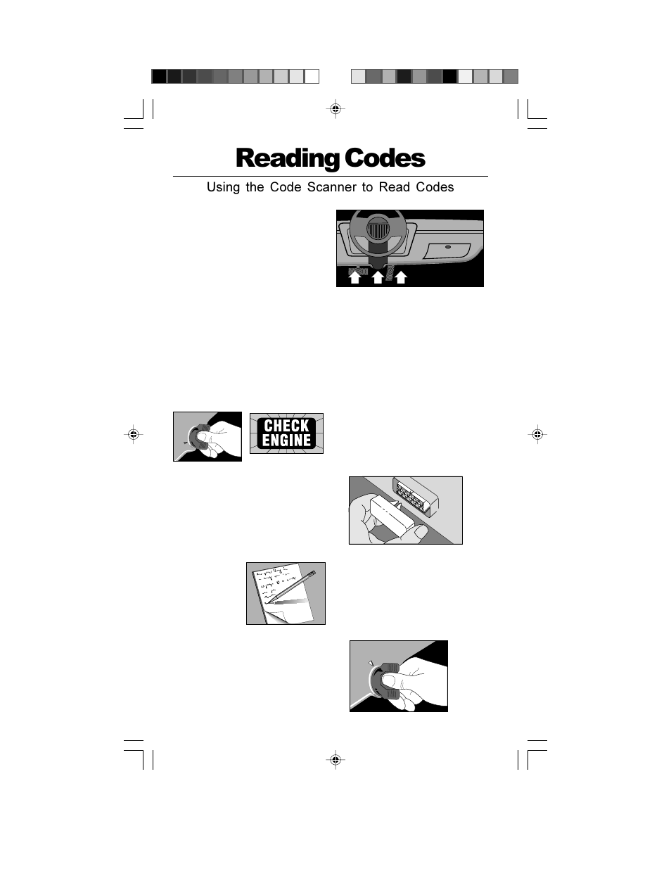 Reading codes, Of f, Using the code scanner to read codes