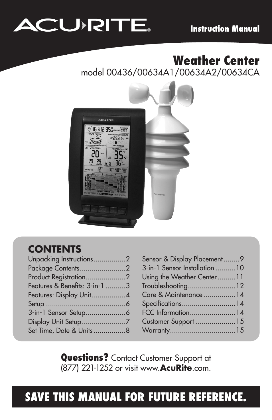 AcuRite 00634 Weather Station User Manual  16 pages