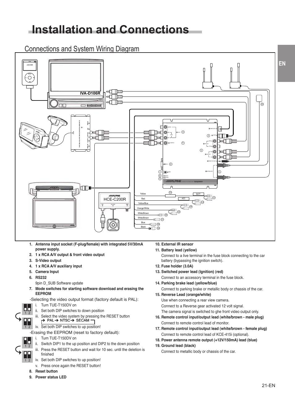 medium resolution of installation and connections connections and system wiring diagram precautions alpine tue t150dv user manual page 19 140