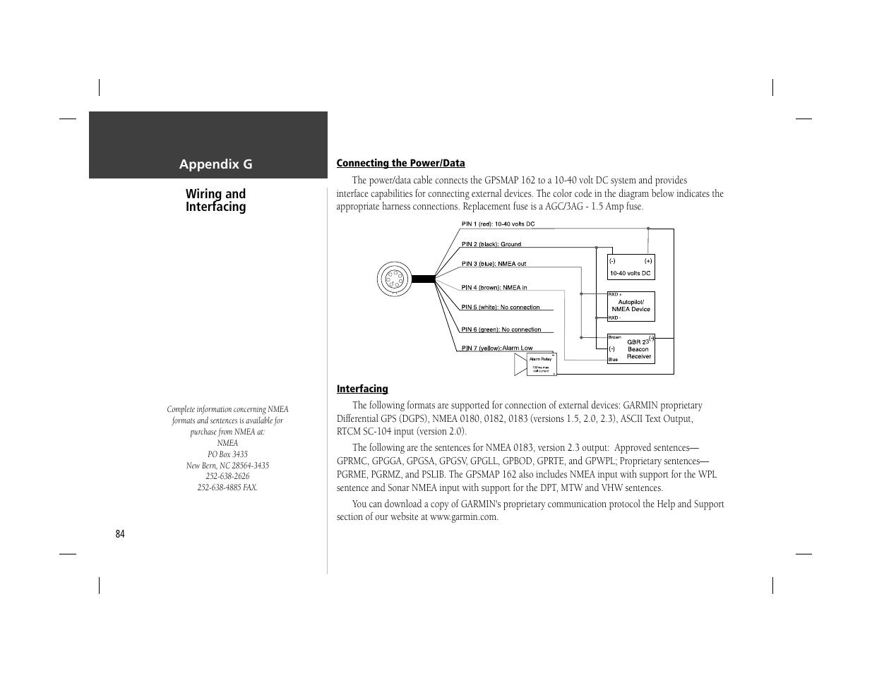 hight resolution of appendix g wiring and interfacing garmin gpsmap 162 user manual garmin gps wiring harness