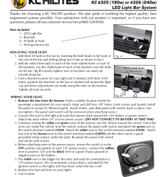 kc hilites kc 326 240w led light bar system instructions user manual 1 page [ 954 x 1235 Pixel ]