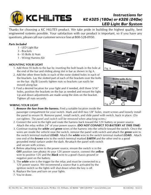 small resolution of kc hilites kc 326 240w led light bar system instructions user manual 1 page