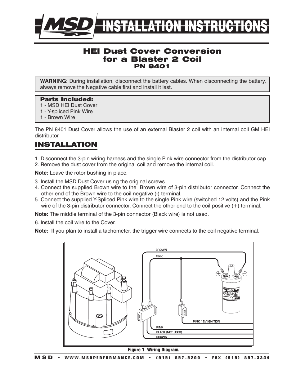 hight resolution of msd 8401 modified hei coil dust cover v8 installation user manual 2 pages