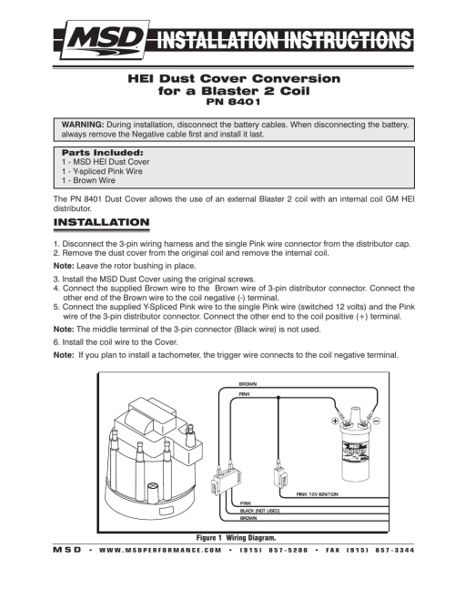 small resolution of msd 8401 modified hei coil dust cover v8 installation user manual 2 pages