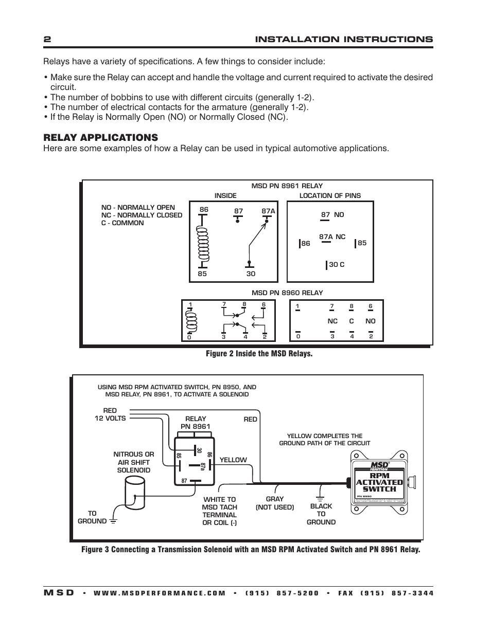 medium resolution of relay applications msd 8961 high current relay spst installation user manual page 2 4