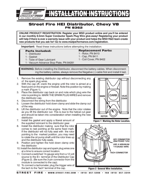 small resolution of msd 8362 street fire chevrolet v8 gm hei distributor chevy hei distributor plug wiring diagram gm