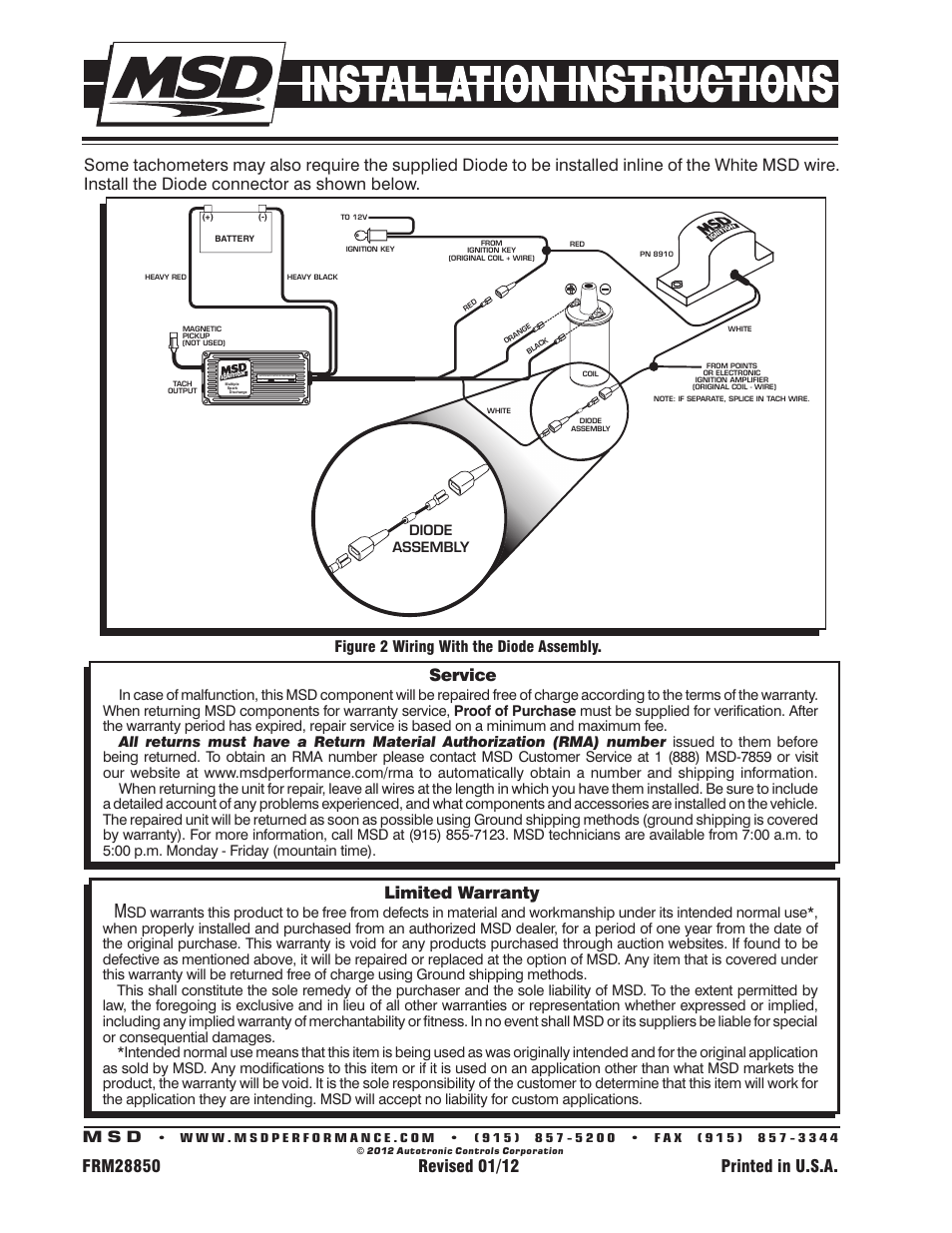 hight resolution of limited warranty service figure 2 wiring with the diode assembly msd 8910 tach adapter installation user manual page 2 2