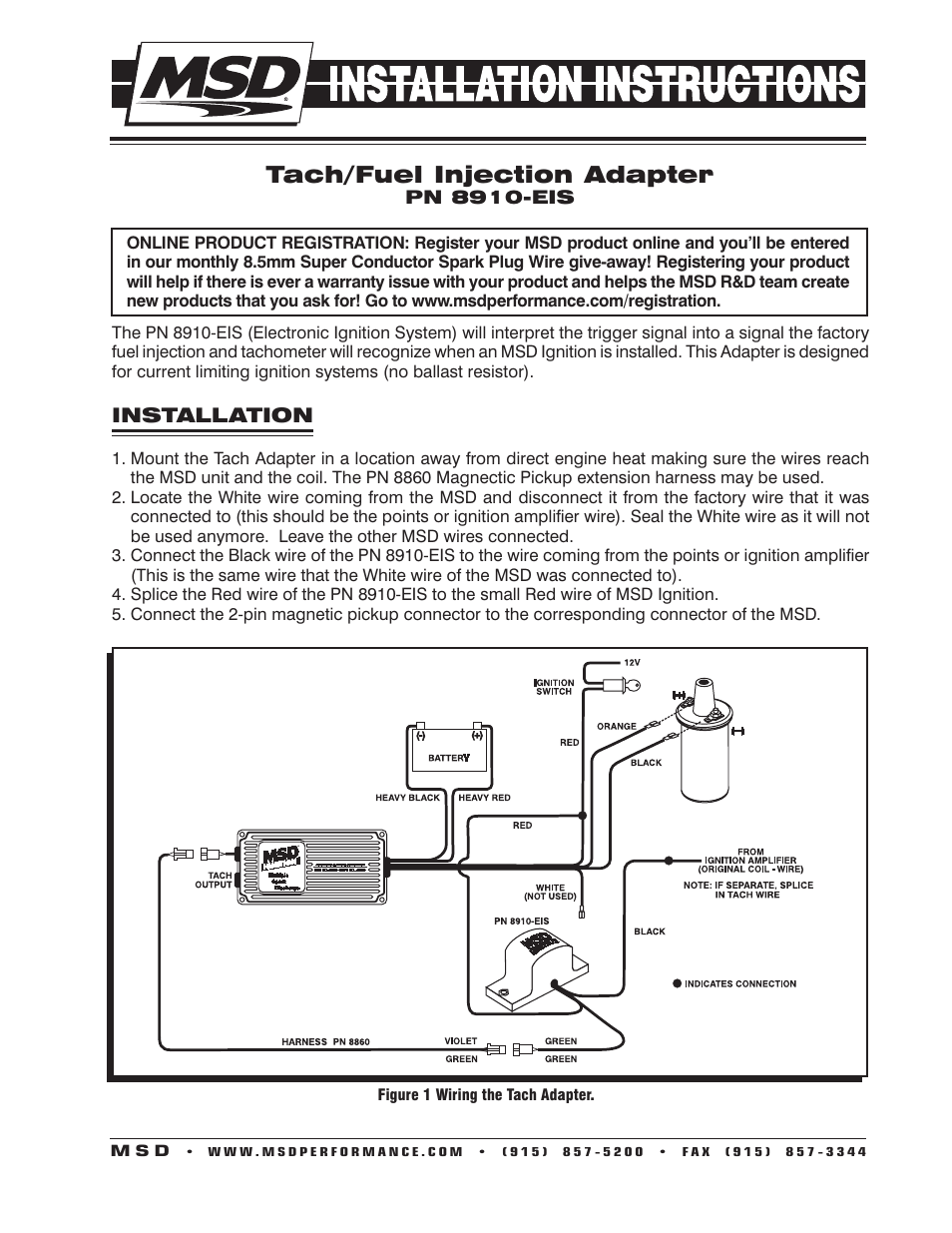 hight resolution of msd 8910 eis tach adapter installation user manual 2 pages msd 6al wiring msd tach wiring diagram