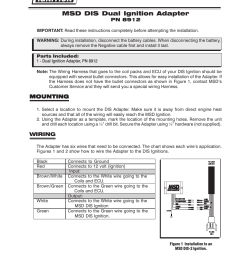 msd 8912 tach adapter for dis 2 and dis 4 ignitions installation user manual 2 pages [ 954 x 1235 Pixel ]