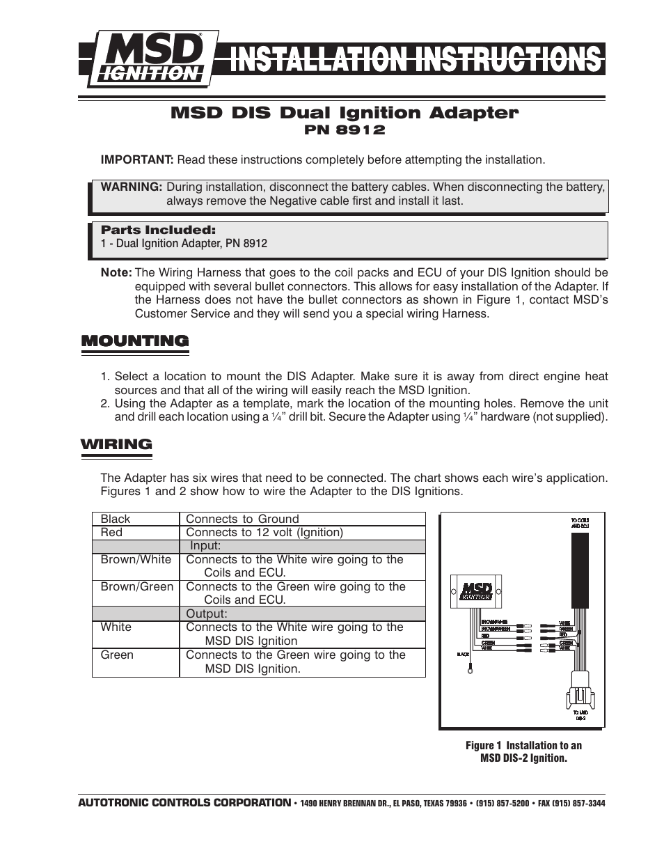 medium resolution of msd 8912 tach adapter for dis 2 and dis 4 ignitions installation user manual 2 pages