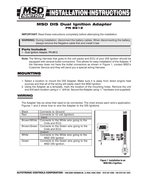 small resolution of msd 8912 tach adapter for dis 2 and dis 4 ignitions installation user manual 2 pages