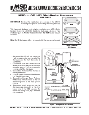 MSD 8875 Wiring Harness, GM HEI Installation User Manual
