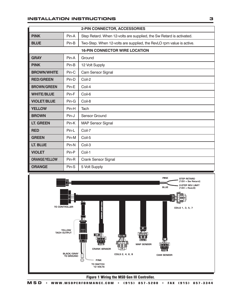 msd two step wiring diagram light socket 6010 6ls ignition controller for ls1_ls6 (24 tooth crank trigger) engines installation user ...