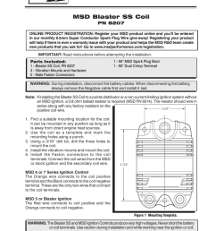 msd 8207 blaster ss coil installation user manual 2 pages [ 954 x 1235 Pixel ]