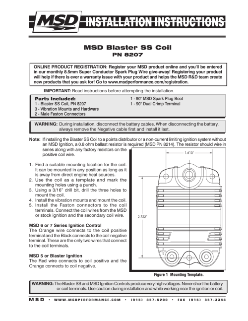 small resolution of msd 8207 blaster ss coil installation user manual 2 pages