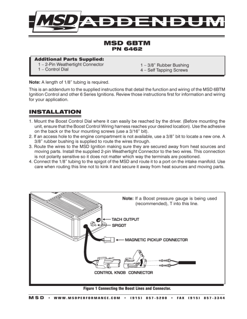 small resolution of msd 6462 6 btm boost timing master user manual 2  pages turbo 350