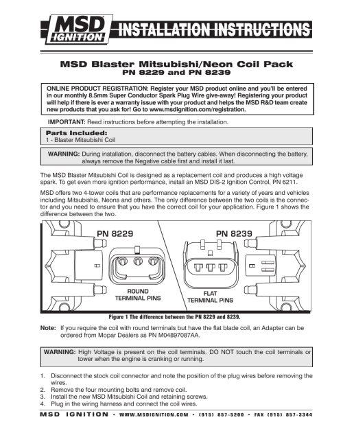 small resolution of msd 8239 mitsubishi dodge coil 1996 on installation user manual 2 pages