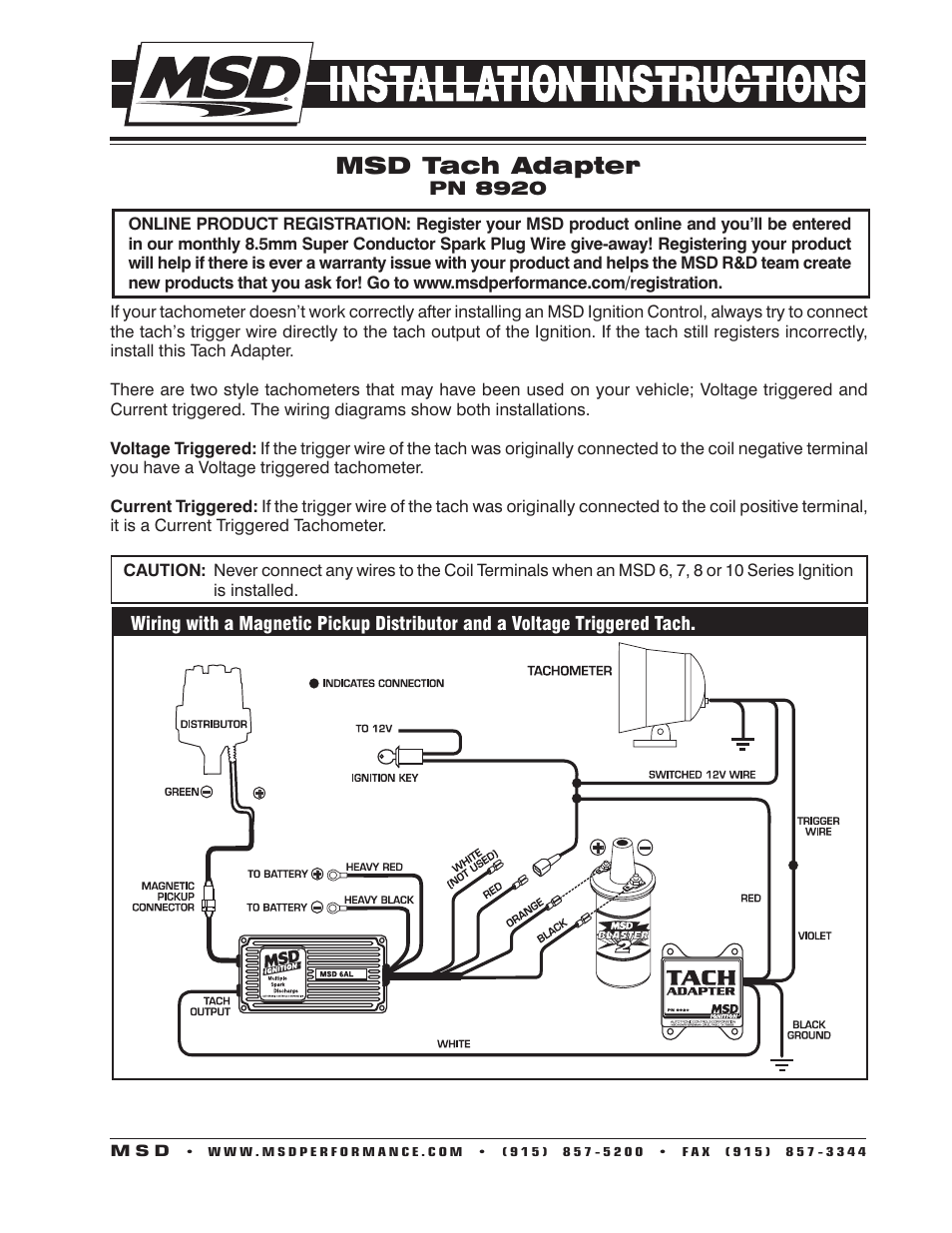 hight resolution of msd 8920 tach adapter magnetic trigger installation user manual 2 3 way switch wiring tel tach wiring diagram for msd