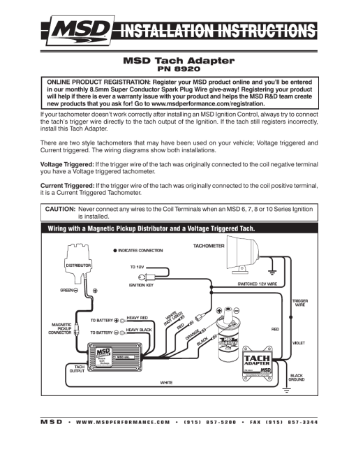 small resolution of msd 8920 tach adapter magnetic trigger installation user manual 2 3 way switch wiring tel tach wiring diagram for msd