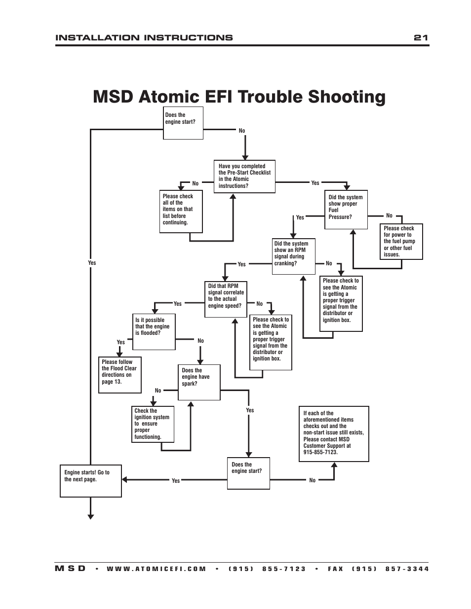 Msd atomic efi trouble shooting, Installation instructions