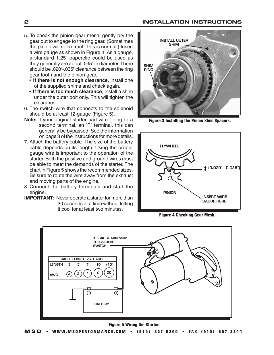 hight resolution of msd 50951 dynaforce starter chevy 168 tooth staggered mount installation user manual page 2 4