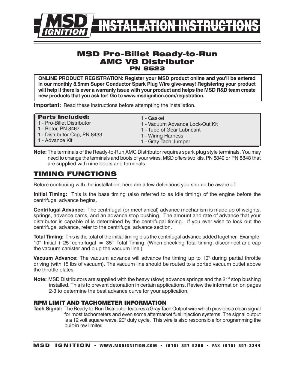 medium resolution of msd 8523 amc v8 ready to run distributor installation user manual 8 pages