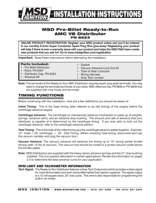 small resolution of msd 8523 amc v8 ready to run distributor installation user manual 8 pages