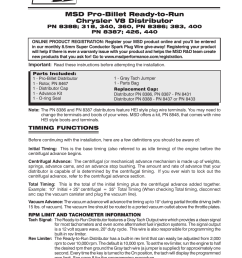 msd 8388 chrysler 318 360 ready to run distributor installation user manual 8 pages also for 8386 chrysler 383 400 ready to run distributor  [ 954 x 1235 Pixel ]