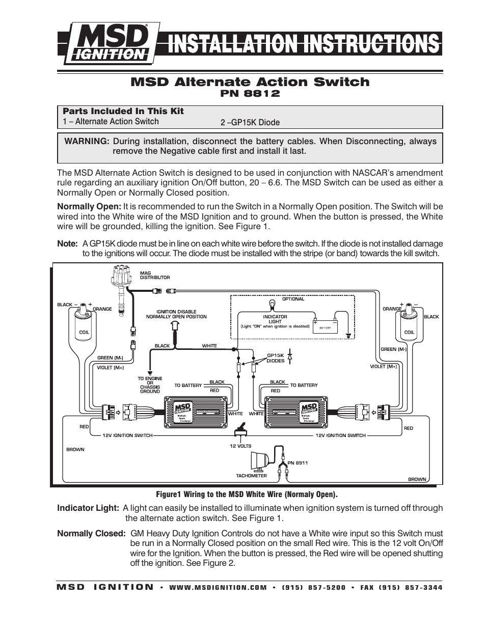 hight resolution of msd 8812 universal push button alt action switch installation user manual 2 pages