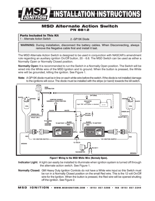 small resolution of msd 8812 universal push button alt action switch installation user manual 2 pages