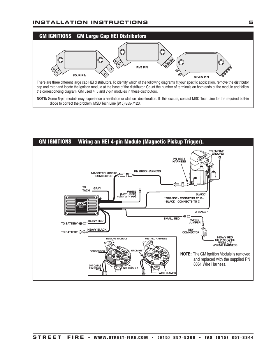 hight resolution of gm ignitions gm large cap hei distributors msd 5520 street fire streetfire ignition box diagram msd 5520 ignition wiring diagram