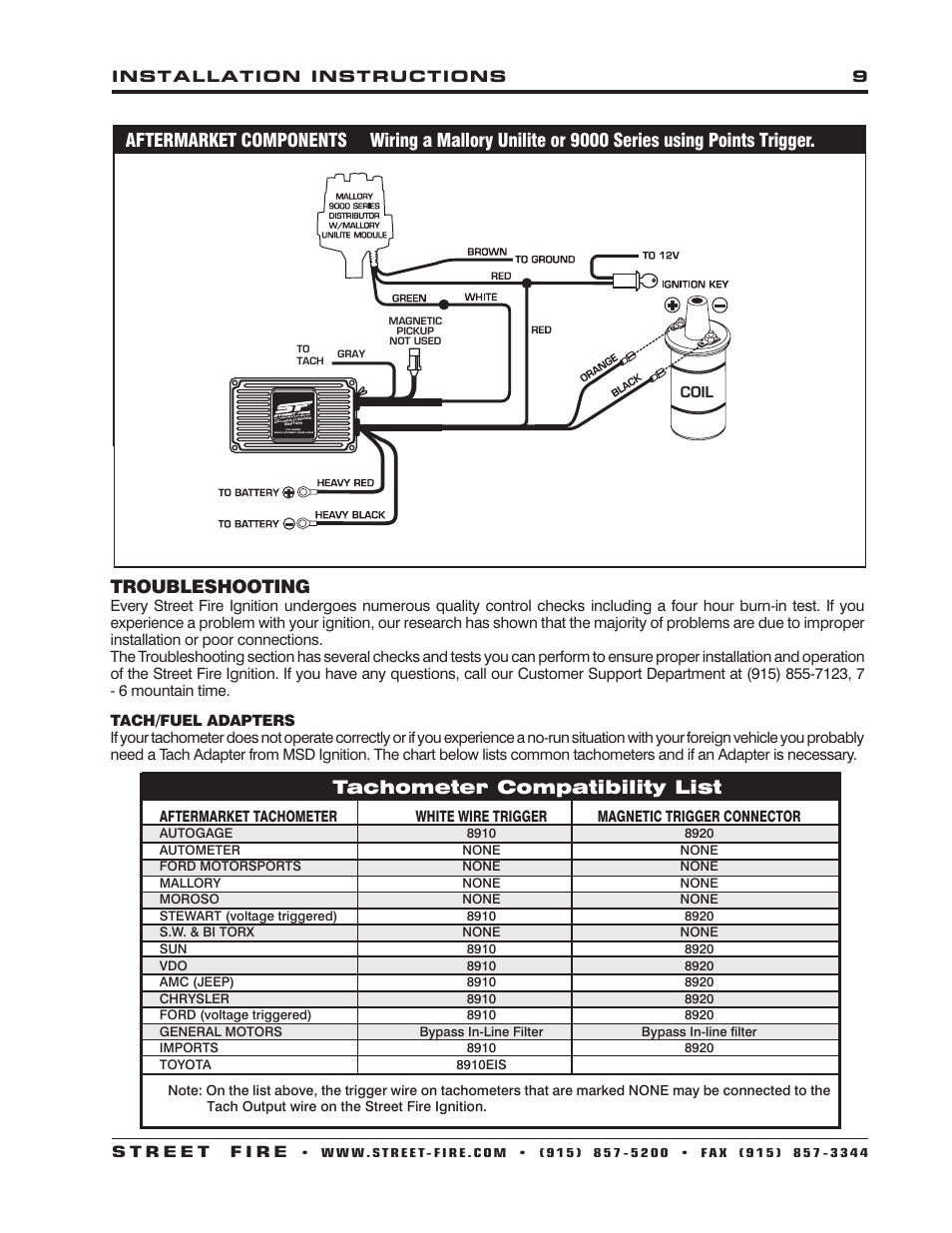 hight resolution of troubleshooting tachometer compatibility list msd 5520 street rh manualsdir com msd streetfire pn 5520 wiring diagram msd 7al 3 wiring diagram