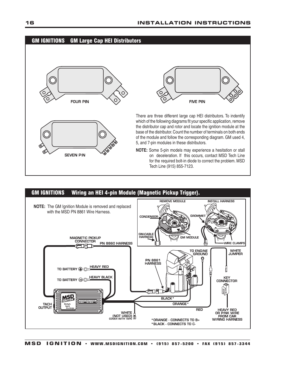 medium resolution of msd 6430 6aln ignition control installation user manual chevy lt1 msd ignition wiring