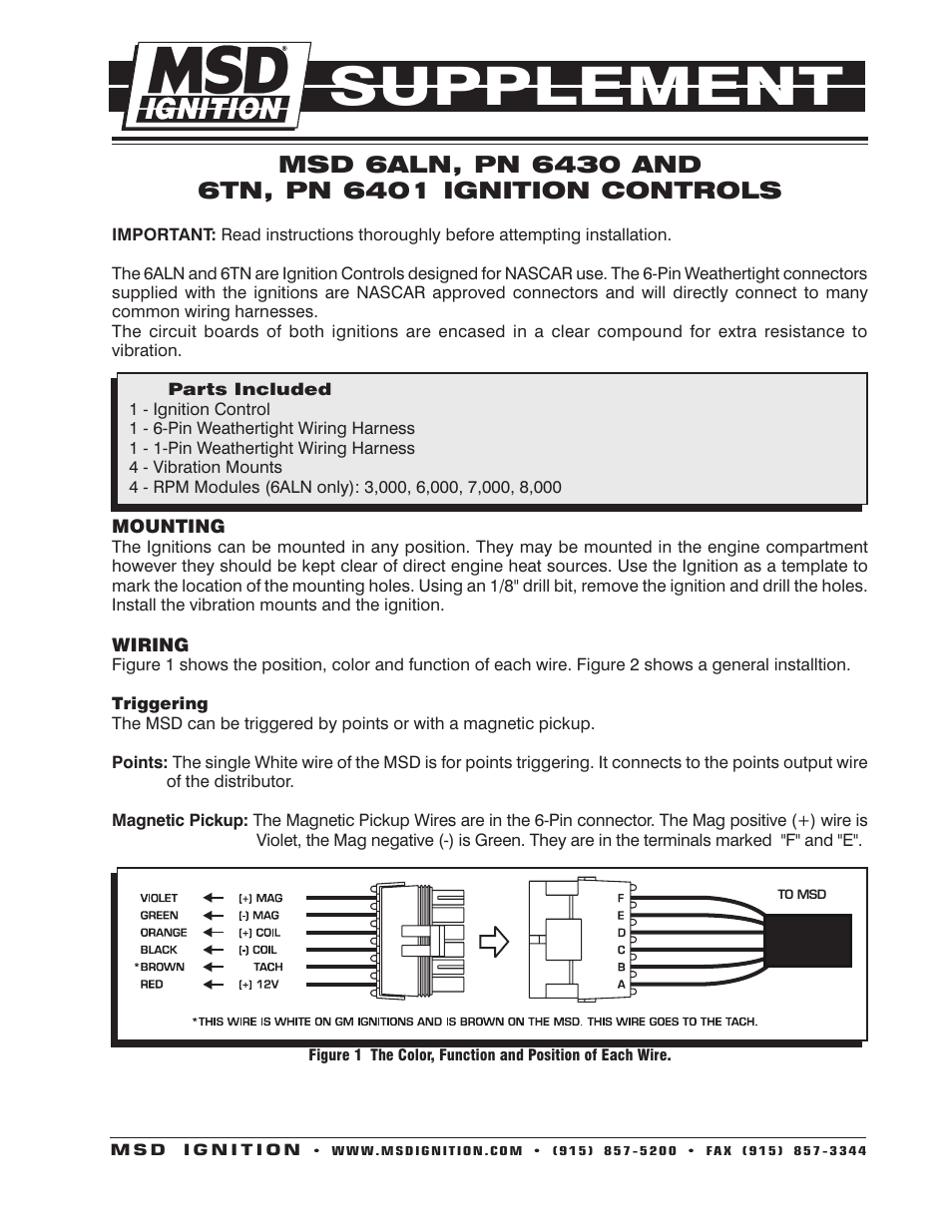MSD 6430 6ALN Ignition Control Supplement User Manual 2 Pages
