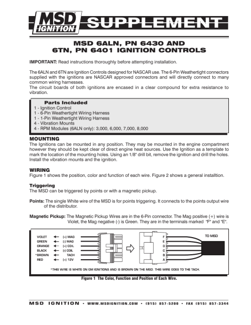 small resolution of msd 6430 6aln ignition control supplement user manual 2 pages msd 6al 6420 wiring diagram gm msd 6aln wiring harness