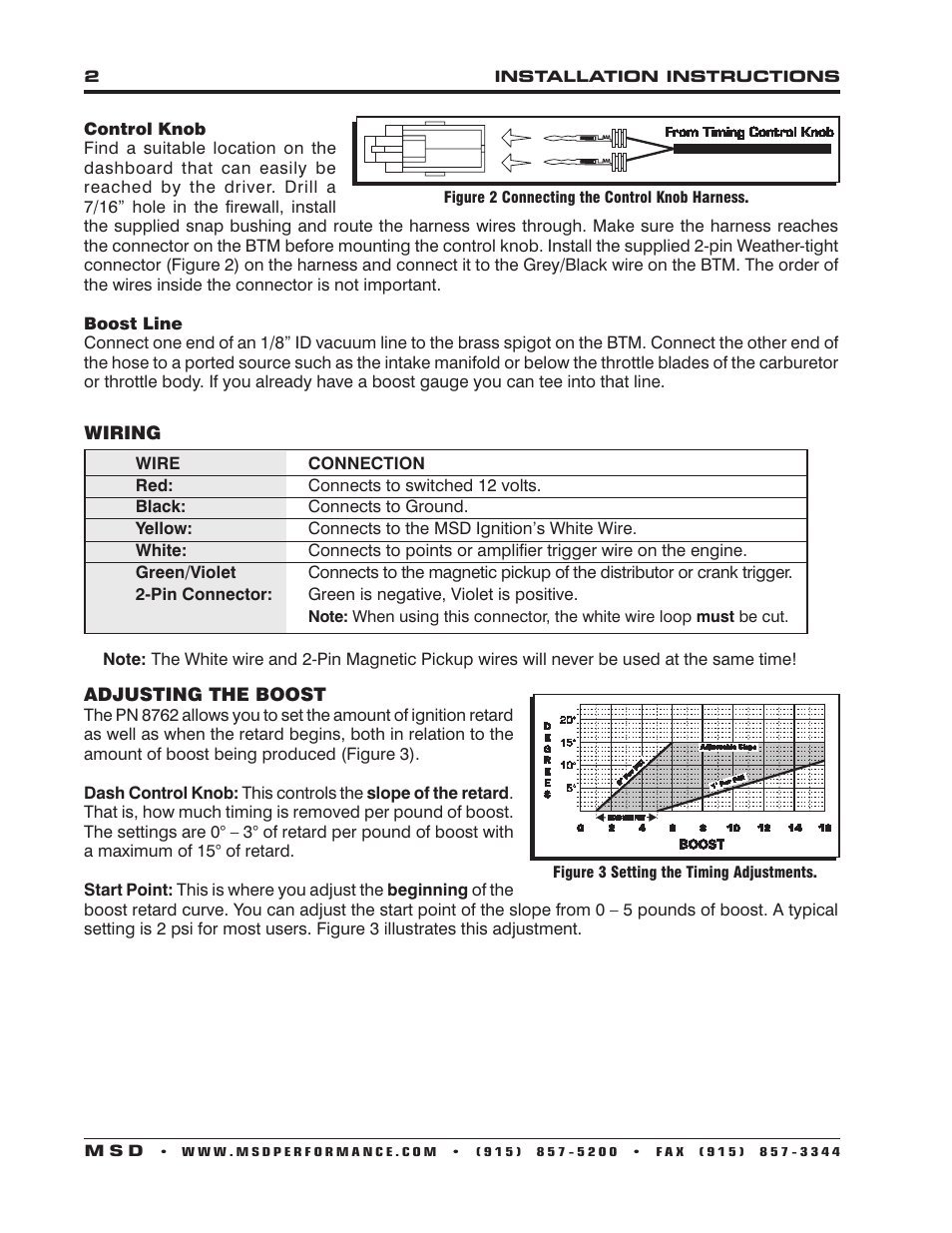 hight resolution of msd 8762 boost timing master for use with msd ignition control installation user manual page 2 4