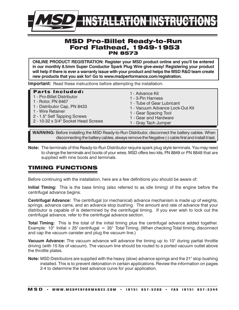 hight resolution of msd 8573 flathead ford ready to run distributor for 49 53 installation user manual 8 pages