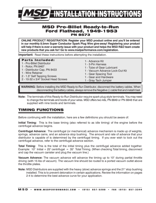small resolution of msd 8573 flathead ford ready to run distributor for 49 53 installation user manual 8 pages